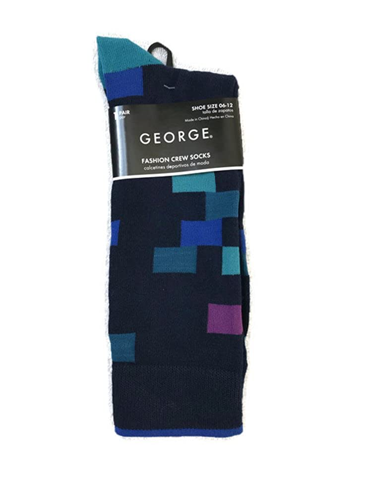 Mens Fashion Crew Socks With Fun Designs (Blue Checks) at Amazon Mens Clothing store: