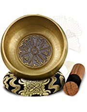 Soundance 4.7'' Tibetan Singing Bowl Set for Meditation Yoga Chakra Healing Relaxation Mindfulness Heart Peace, Handcrafted Metal Brass Bowls with Hammered Mallet Silk Cushion