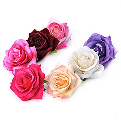 Ever Fairy Bride Women Rose Flower Hair Clips Pins Brooch Hair Accessories