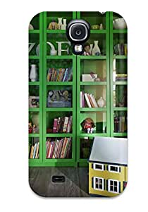 Fashion Tpu Case For Galaxy S4- Girls Room With Bright Green And Glass Cubby Display Bookshelf Defender Case Cover