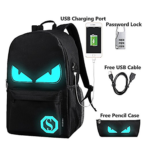 Lmeison Anime Luminous Backpack Daypack Shoulder School Bag Laptop Bag with USB Charger Port and Lock & Pencil Case, Unisex Fashion Rucksack Laptop Travel Bag College Bookbag, Black