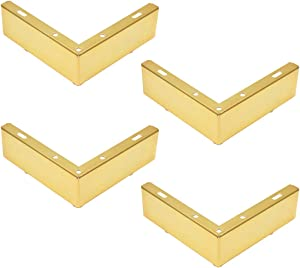 Geesatis 4 pcs Furniture Legs 2 inch / 55mm Height Rectangle Length 145 mm / 5.8 inch Metal Legs Replacement, Minimalist Design, for Sofa Cabinet Coffee Table TV Stand Feet, with Mounting Screws, Gold