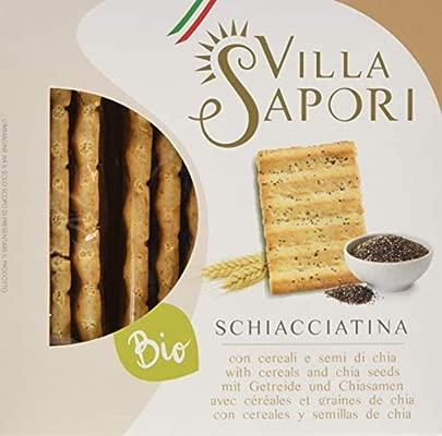 Villa Sapori Pan Crujiente Italiano con ingredientes Ecológicos | Schiacciatina Ecológica con Cereales y semillas de Chía, caja de 1,2 kg (pack de 8 x ...