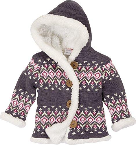 Schnizler Baby-Mädchen Strickjacke Blumen, Fleece Gefüttert mit Kapuze, Grau (Grau 33), 62