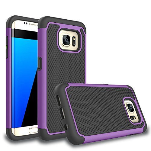 Galaxy S7 edge Case, Bestselling Shop Shock Absorbing Hybrid Rubber Plastic Impact Defender Rugged Slim Hard Case Cover Shell For Samsung Galaxy S7 edge S VII G935 GS7 edge (Purple/Black)