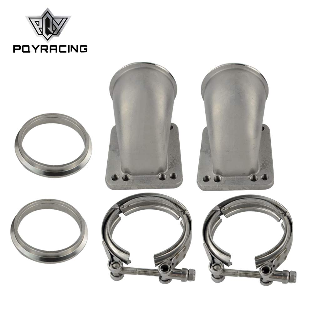 PQYRACING 1 Pair 2.5' Vband 90 Degree Cast Turbo Elbow Adapter Flange 304 Stainless Steel + Clamp for T3 T4 Turbocharger