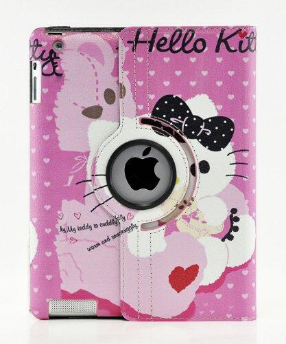 Hello Kitty Design 360 Degree Rotating PU Leather Hard Case for Apple iPad 4 3 2, Mini 2 with Retina and iPad Air (iPad Air, Color 5)