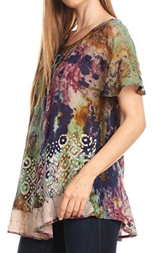 Dye Menthe Tie Top Blouse Flowy Batik Violet Courtes Manches Womens Sara Paysan Broderie Sakkas zUxR7qz