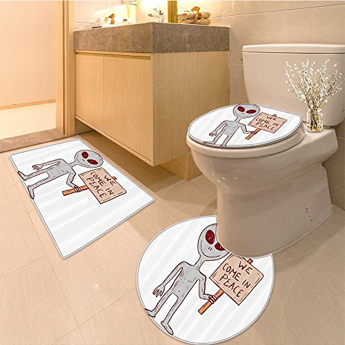 3 Piece Extended bath mat set Martian Creature with Peace Phrase Solar Revolution on Print Image Fabric Set with H Very Absorbent Bathroom Bath Mat Contour Rug ()