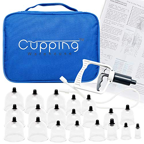 Cupping Warehouse 20 Chinese Cup Polycarbonate Professional Cupping Therapy Set with Pump Gun and Extension Tube and Silicone Top (20Chinese)