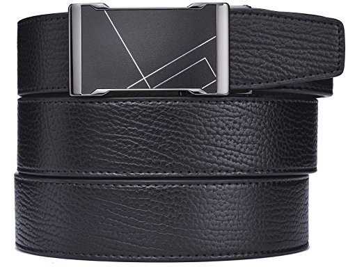 - plyesxale Men's Leather Ratchet Dress Belt- Length is Adjustable - Delicate Gift Box (Waist Size:36-44