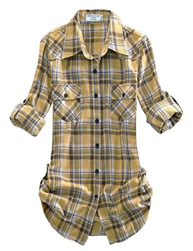(Match Women's Long Sleeve Plaid Flannel Shirt #2021(Large, Checks#3))