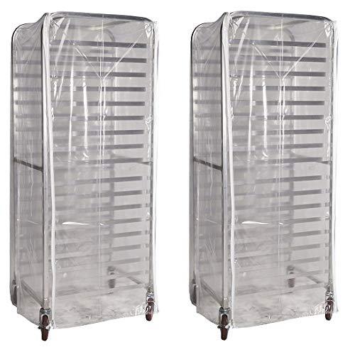 Winholt SRC-58/3Z Bun Pan Rack Cover, Heavy Duty Plastic, 3 Zippers, 23'' W x 28'' L x 61'' H, Clear (2-(Pack))