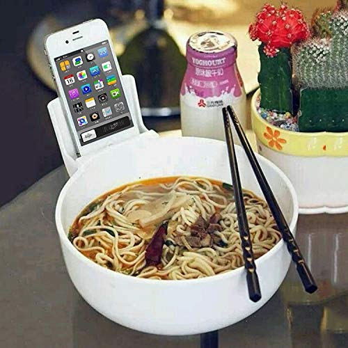 WXQ-XQ Originative Multi-Functional Noodle Bowl Tableware with Phone Holder (Color : White) by WXQ-XQ