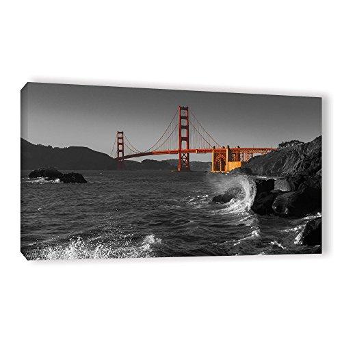 ArtWall Scott Campbell's Golden Gate Bridge Study 2 Bw, Gallery Wrapped Canvas 24x48