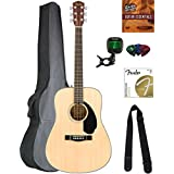 Fender CD-60S Solid Top Dreadnought Acoustic Guitar - Natural Bundle with Gig Bag, Tuner, Strap, Strings, Picks, Austin Bazaa