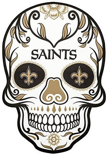 Applied Icon NFL New Orleans Saints Outdoor Small Dia De Los Muertos Skull Decal ()