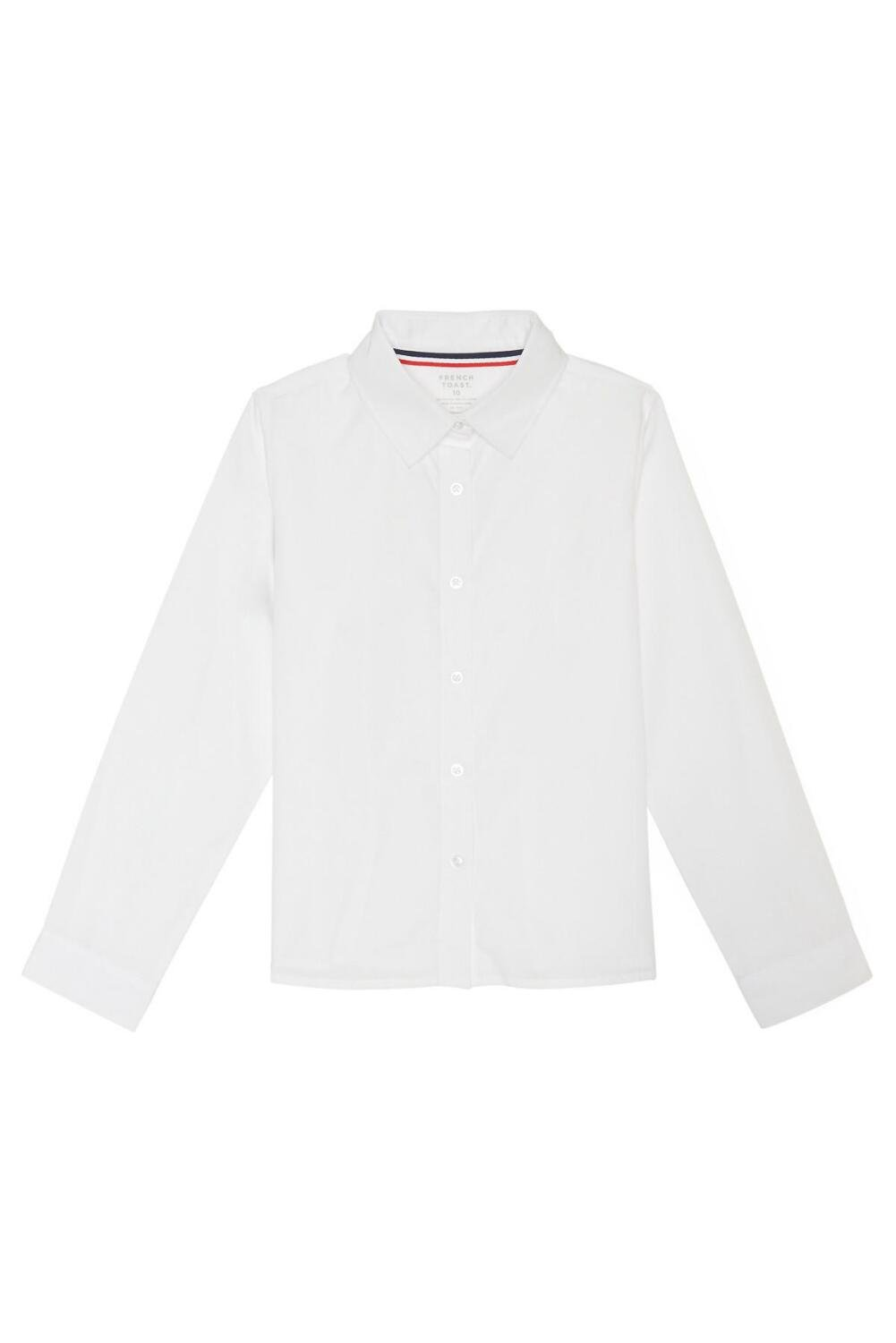French Toast Big Girls' Long Sleeve Pointed Collar Short, White, 10