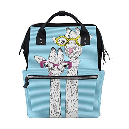- ColourLife Diaper Bag Backpack Giraffes in Funky Glasses Casual Daypack Multi-Functional Nappy Bags