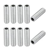 uxcell 10Pcs M6 Full Threaded Lamp Nipple Straight Pass-Through Pipe Connector 20mm Length