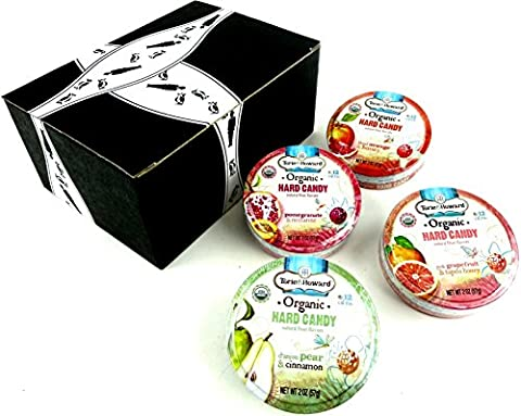 Torie & Howard Organic Hard Candies 4-Flavor Variety: One 2 oz Tin Each of Pink Grapefruit & Tupelo Honey, D'Anjou Pear & Cinnamon, Blood Orange & Honey, and Pomegranate & Nectarine in a BlackTie Box (4 Items - Honey Nectarine