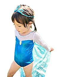 StylesILove Frozen Inspired Metalic Blue Girl Swimsuit with Cape and Hat Set