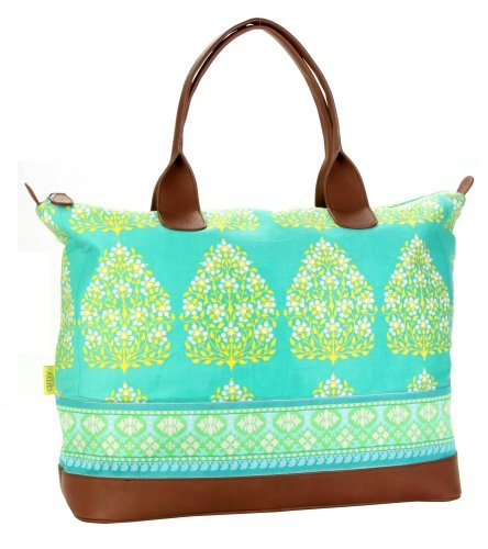 Amy Butler for Kalencom Marni Duffle Bag with Ribbon - Henna Tree Bay Leaf