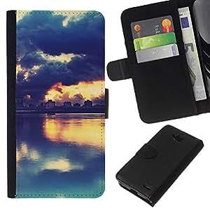 YiPhone /// Tirón de la caja Cartera de cuero con ranuras para tarjetas - PINTORESCO PUESTA DEL SOL DEL LAGO - LG OPTIMUS L90