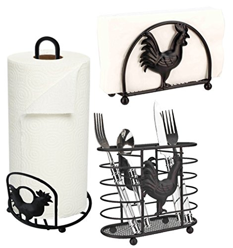 Deluxe Rooster Collection 3pc Kitchen Table Décor Set, Cutlery Holder, Napkin Holder, Paper Towel Stand - Black