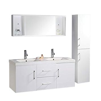 Badmöbel Badezimmermöbel Modell White Malibu 120 Cm Badezimmer Waschbecken Waschtisch  Schrank Spiegel