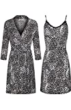 SofiePJ Women's Printed Sleepwear Chemise and Robe 2PC Set Charcoal Black M(504347-1)