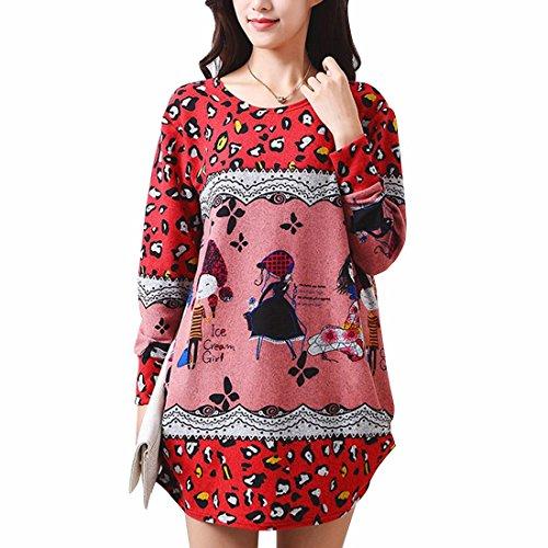Red Shirt Cartoon Sexy Loose Women'S Sleeve Dress Short Floral Print Long Blouses Leopard Tops Ppxf6qzw