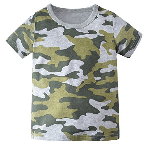 Cotton Woodland Camo T-shirt Army (Kids Camouflage T-Shirts Childs Classic Woodland Camo Shirt Little Boys' Camo Short Sleeve Crew Tee, (Camouflage,2T))