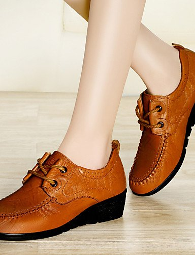 Njx Brown 5 Mujer 5 us8 us6 Plano Oficina 7 Caqui De Brown Marrón Zapatos Cn3 Cn37 Uk4 Trabajo Tacón 5 Oxfords Eu37 2016 Boda Y Cuero Casual 5 Comfort Uk6 Cn40 Eu39 5 rpawBr