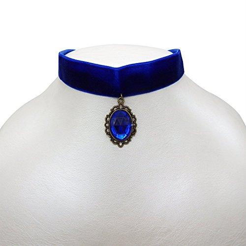 RareLove Classic Blue Velvet 20mm Choker Necklace with Rhinestone Teardrop Dangle Charm Pendant