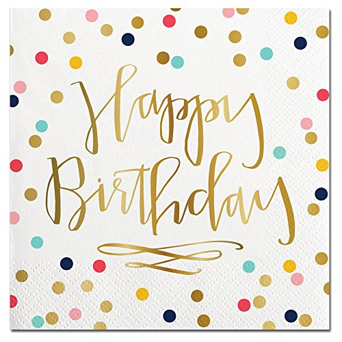 Happy Birthday Foil Design Cocktail Party Napkins - 20 Count