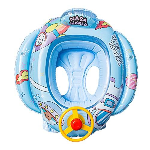 아 팽창식 수영장 부동 반주 패턴 수영 FLOAT 보트와 스티어링 휠 혼 아이들을위한 좌석에 유아 수영장 반지름 팽창식 장난감을 야외에 물 재미있는 반지는 아기를 위해 6 36 개월