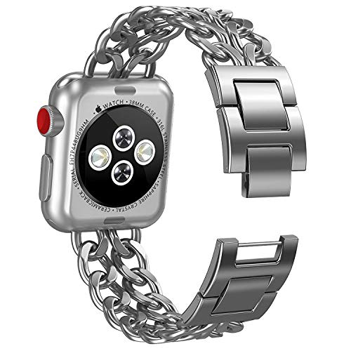 NO1seller Top Bands Compatible for Apple Watch 38mm 42mm, Metal Cowboy Style Bracelet Strap Replacement Wristband for Apple Watch Series 4 40mm 44mm 3/2/1,Sport,Nike+,Edition