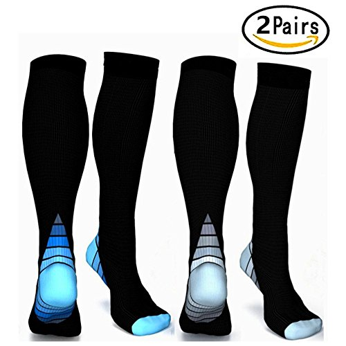 Graduated Compression Socks for Men & Women, BEST Athletic Fit for Running, Cycling, Nurses, Shin Splints, Air Travel,Foot Support & Maternity Pregnancy. Boost Stamina, Circulation, & Recovery -2 Pair by H-Brotaco