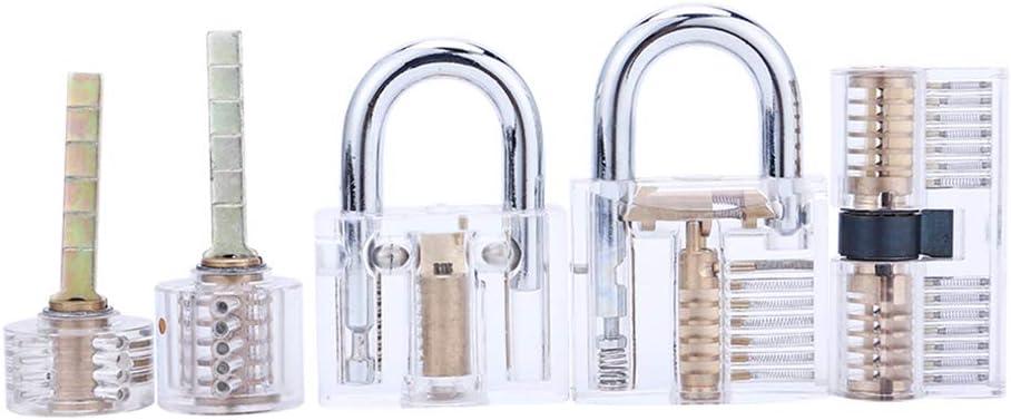 Blade Padlock AB Kaba Cylinder Lock and Bull Head Cylinder Lock Loboo Idea 5-Piece Practice Lock Set for Beginner and Pro Locksmiths Transparent Training Cutaway Crystal Pin Tumbler Keyed Padlock