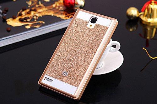 Xiaomi Redmi Note Prime Hard Back Glitter Cover Golden by TECHILUV