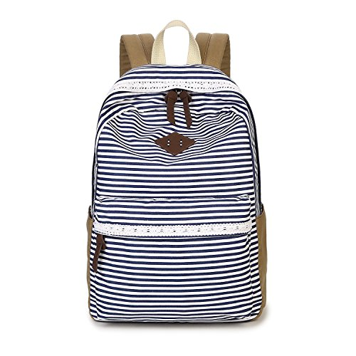 Casual Backpack for Girls Teens, Striped Canvas Backpack Cute School Book Bag