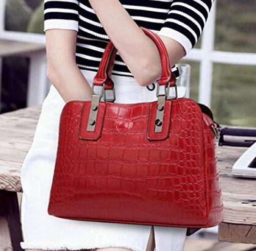 Main Dame Style À De Sac Mode Crocodile Boston Red Vintage qXwAWx0p