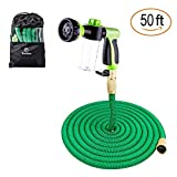 Sosoon Garden Hose, Expanding Extra Strength Stretch Material Water Hose with All Brass Connectors - Bonus 8 Way Spray Nozzle,Dish Soap Liquid Detergent Container, Carrying Bag (50 Feet)