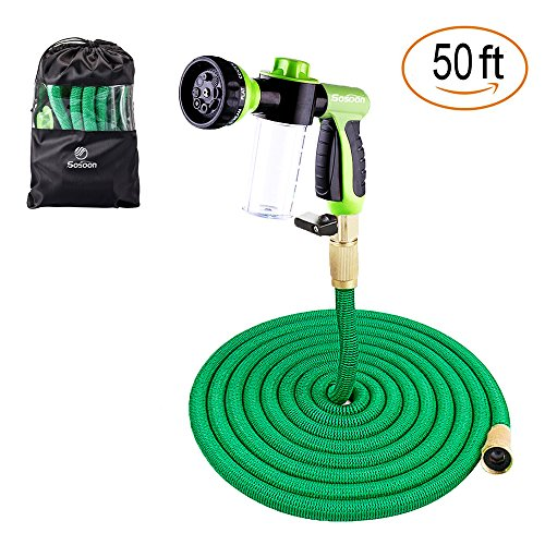Sosoon Garden Hose, Expanding Extra Strength Stretch Material Water Hose with All Brass Connectors – Bonus 8 Way Spray Nozzle,Dish Soap Liquid Detergent Container, Carrying Bag (50 Feet)
