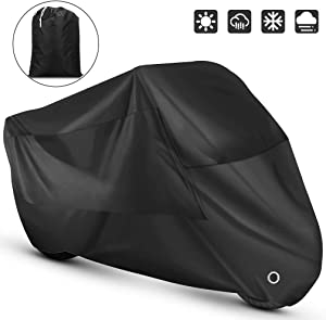 Roctee Outdoor Indoor Motorcycle Cover Waterproof, Dust Resistant, Anti UV , Rain Sun Wind Proof Motorbike Scooter Motor Cycle Cover, 104.3''(L) 41.3''(W) 49.2''(H) for XXL Size (Black)