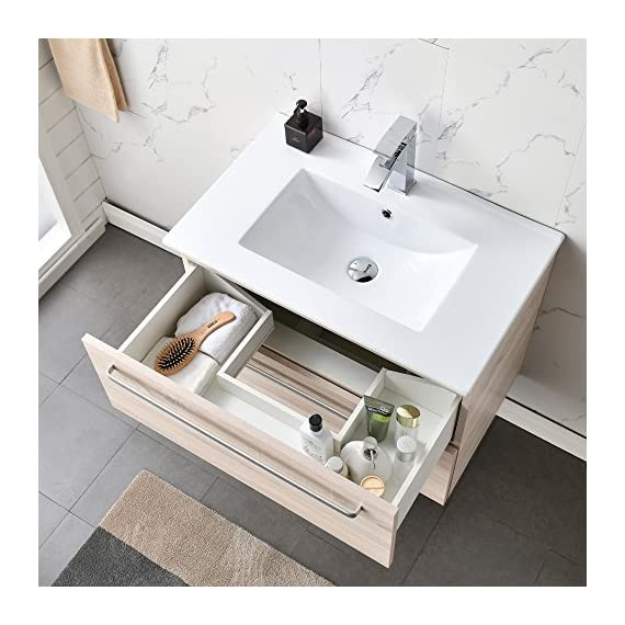 """VCCUCINE Modern 29"""" Beige 2 Drawers Floating Wall Mounted Bathroom Vanity, Storage Cabinet with White Ceramic Vessel Basin Top Vanity Sink Combo - Eco-Friendly construction:MDF wood board and melamine finish Convenient storage:Two large drawers with large capacity help your room clean and tidy Modern and natural design matches almost any bathroom. Wall-mounted style saves space and makes room cleaning easier. - bathroom-vanities, bathroom-fixtures-hardware, bathroom - 51WscC7k86L. SS570  -"""