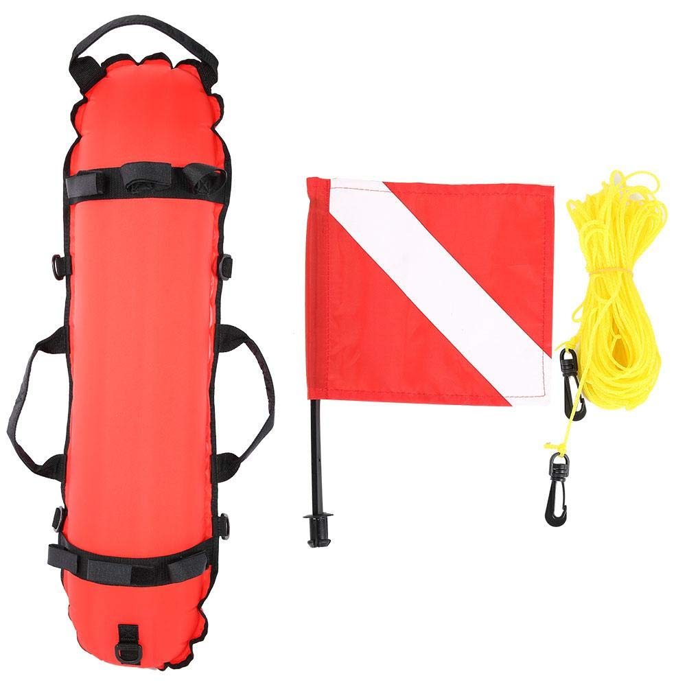 Quick Inflates Scuba Diving Below Inflatable Signal Floater Diving Inflation Torpedo Buoy Signal Float Ball & Flag