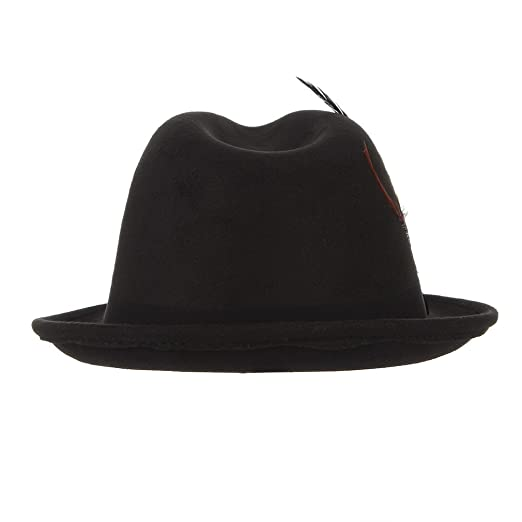346443cd0b420 Jelord Men Wool Felt Trilby Fedora Hat Jazz Cap with Feather Black at  Amazon Men s Clothing store