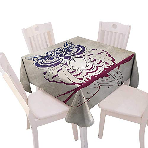 Spring & Summber Tablecloth Dinner Picnic Cloth Home Decoration,(W54 x L54) Owl Home Decor Night Owl on Marsala Tree Branch Cream Background Elegant Fancy Decor Art Deco Design Patterns Navy Blue Bu